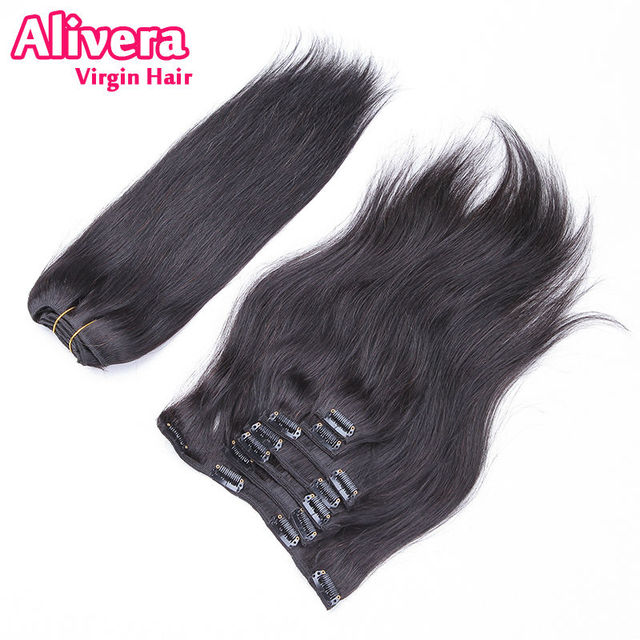 Brazilian Virgin Hair Straight Clip In Hair Extensions Alivera