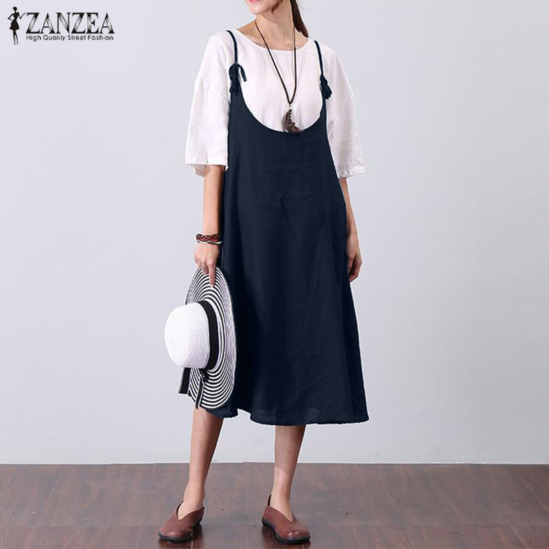 ZANZEA Women Summer Dress Pleated Vestidos Sleeveless Straps Swing Hem Solid A-line Dresses 2018 Sexy Plus Size Elegant Robe