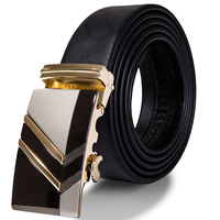Hi-Tie Brand - Gold Automatic Buckle Genuine Leather Belt 1