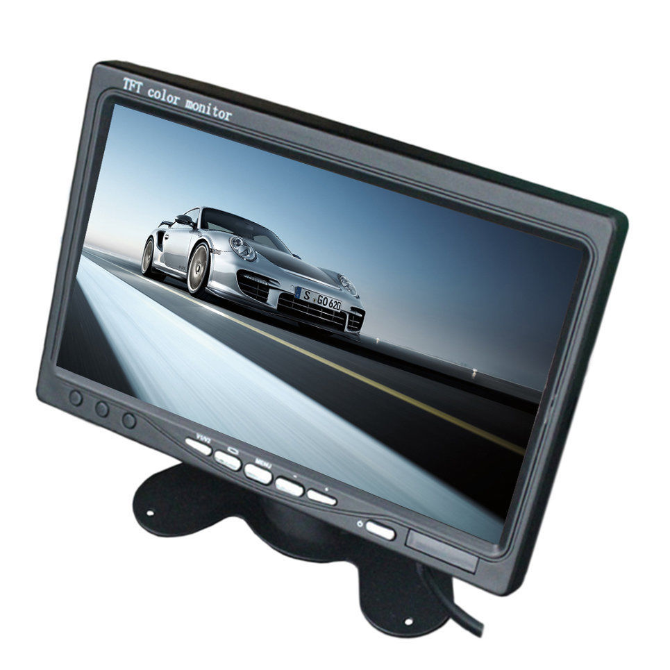 7 Inch Car Backup Monitor RCA Male Female Video Input LCD For Rearview Camera