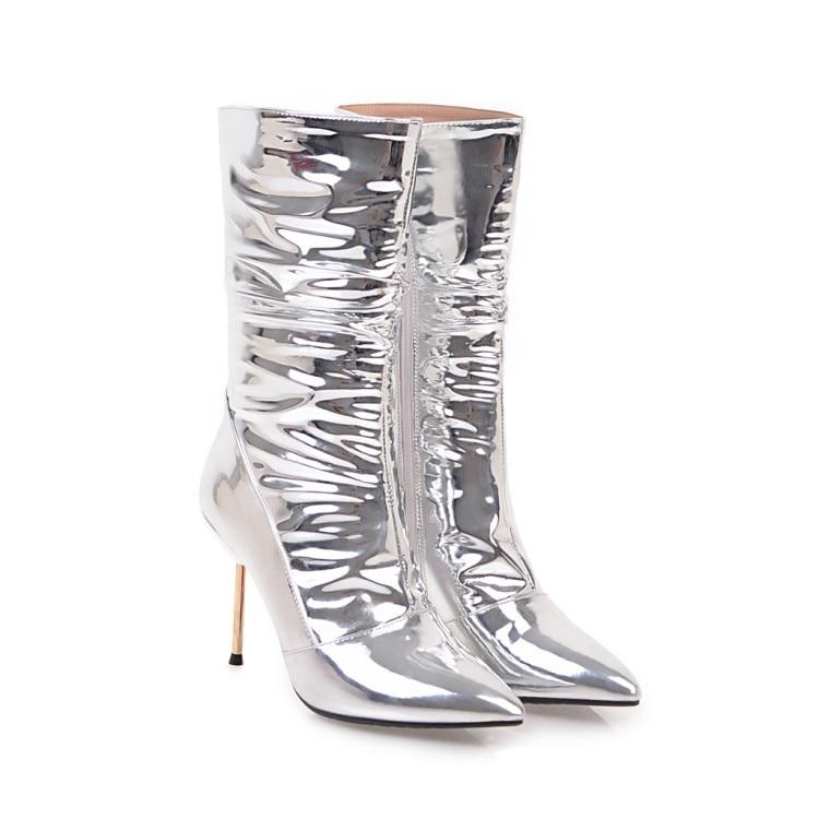 Femmes Métalliques Pointu Argent Mi Silver Bout D'origine Femme Hauts Intentention Minces Nice Nous En Oi0323 5 10 Sexy Bottes Chaussures 3 Talons mollet Taille wqFWEp8