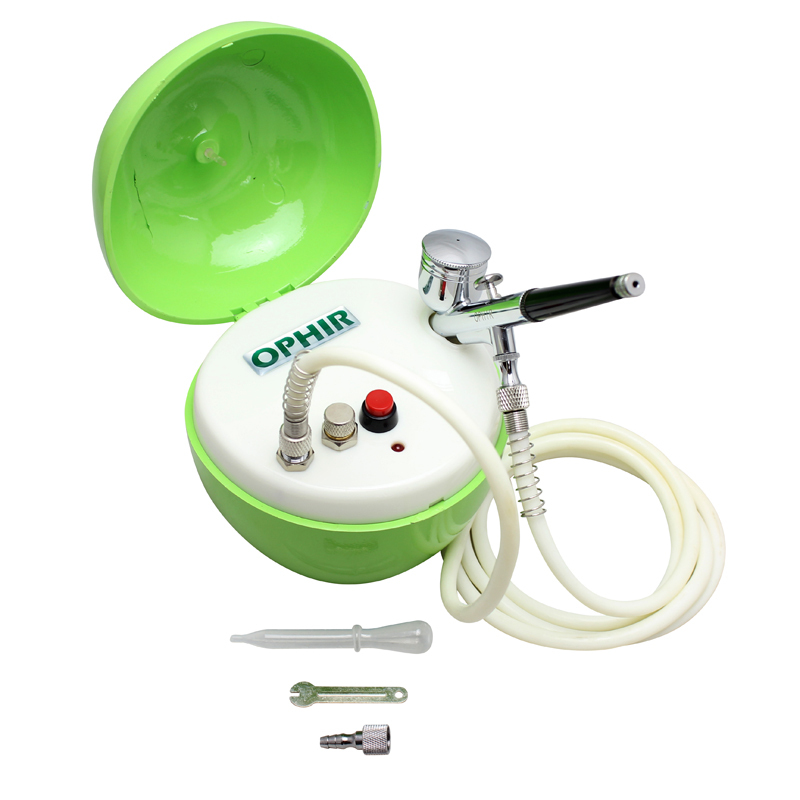 OPHIR 0.3mm Nozzle Airbrush Kit with Apple-shape Green Mini Air Compressor for Cosmetics Tattoo Nail Art_ AC051G+004+035