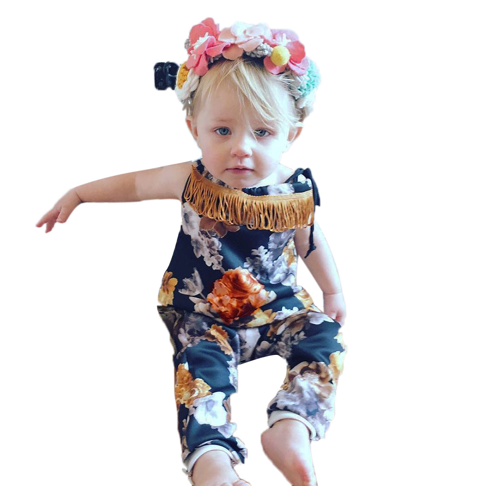 Newborn Baby Girls Infant Romper Floral Printed Tassel Sleeveless Belt Jumpsuit Baby Clothes Outfit Sunsuit