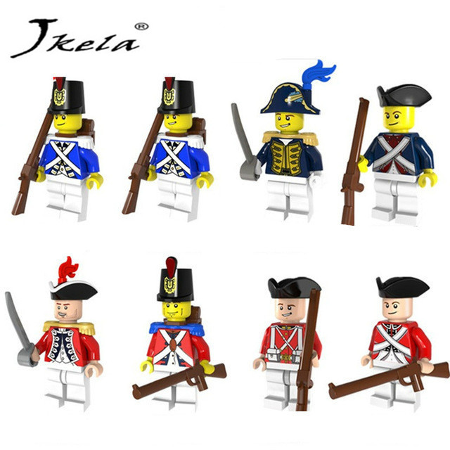 [Jkela] 8pcs lot Imperial Redcoat Army Soldier With Gun Collectible Building Blocks Gift Toy Compatible with Legoingly Military