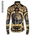 Marca de lujo Camisa de Los Hombres 2015 de Diseño de Moda tigre Impreso de Manga Larga Para Hombre Delgado Camisas de Vestir Casuales Con Estilo Camisa Chemise Homme