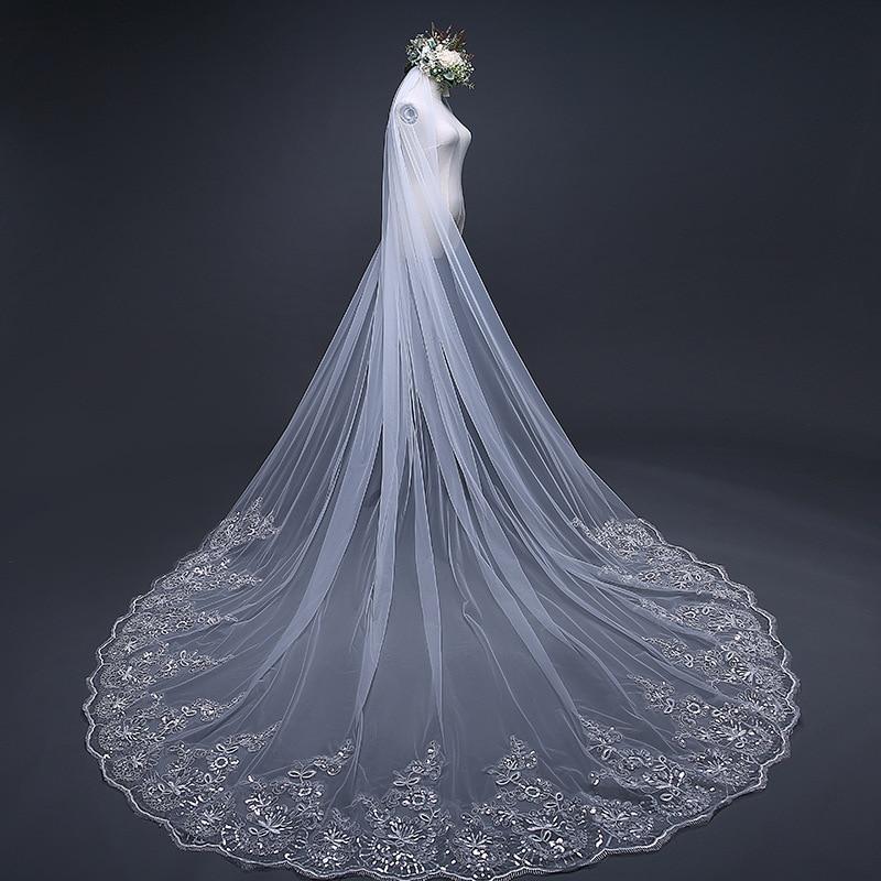 Luxury Lace Applique Sequins Beaded Soft Tulle 3 Meters Long Wedding Veil Bridal Chapel Veil