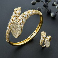 ModemAngel Concise Geometry Design Full Micro AAA Cubic Zirconia Braid Shape Ring Bangle Set For Women Party Bijoux