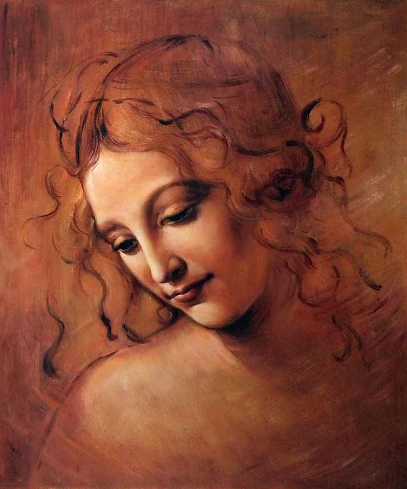 High Quality, Portrait Oil Painting, Female Head (La Scapigliata) by Leonardo Da Vinci, Masterpiece Painting, Handpainted