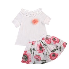 Newest Child Infant Kids Baby Girls Short Puff Sleeve Big Flower Tops Floral Skirt Fancy Outfits Clothes 2PCS Pop Set Cotton