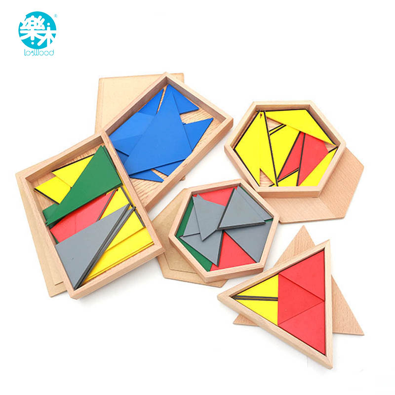 Montessori materials mach toy constitute a triangle Educational Wooden Toys For Children Constructive Triangles With 5 Boxes montessori materials colorful locks box toys for kid children preschool educational toy memory game wooden montessori lock tool