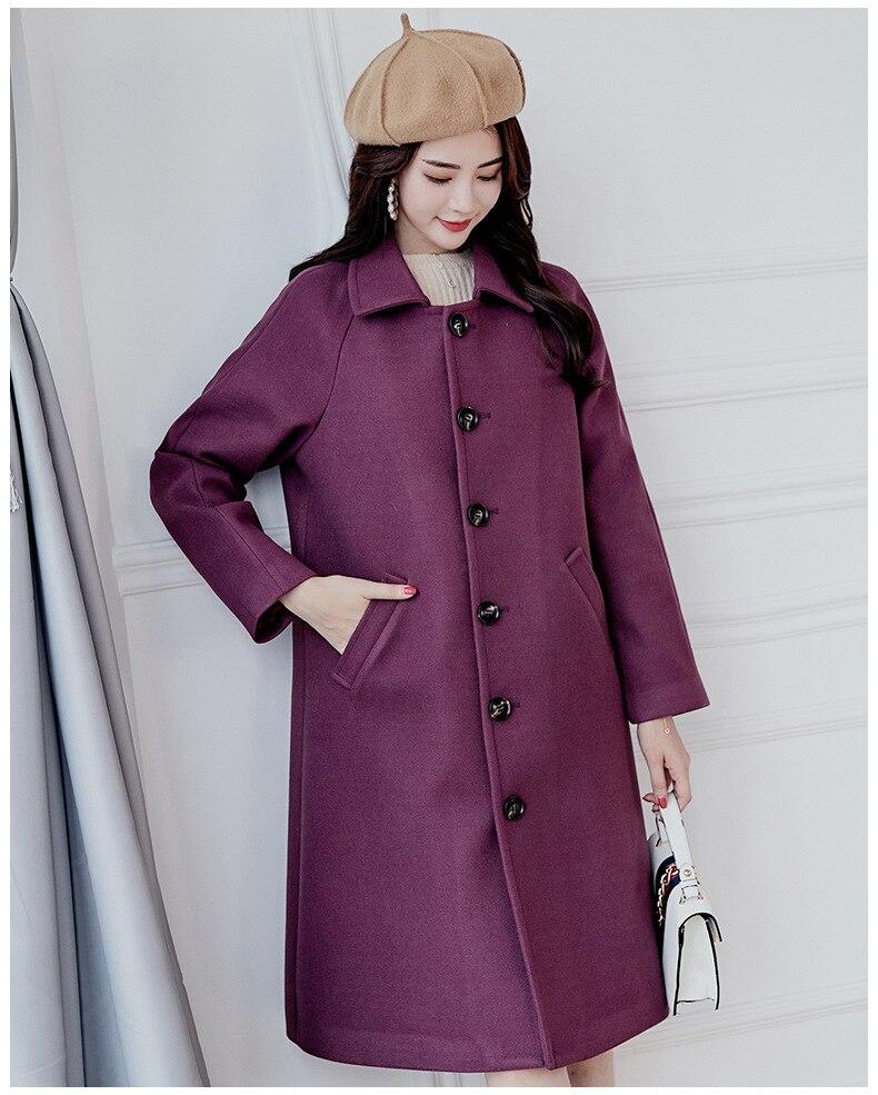 5927353f2be3a Femelle purple 808 Laine Manteau Longues Femme Manches Élégantes D'hiver  Nouvelle Manteaux Purple Veste Dames Vêtements ...