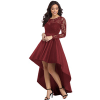 New Fashion Women Claret Long Sleeve Lace High Low Satin Dress Sexy Stain Dress For Women