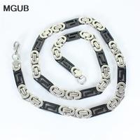 MGUB 8mm Mens Boys Silver color Black Tone Link Necklace Stainless Steel Chain Wholesale Price men jewelry Free Shipping HY49