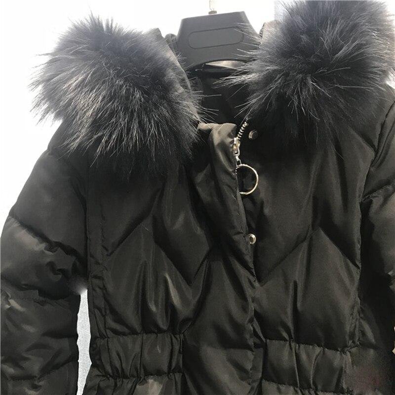 2018 Nouveau hiver Femmes Mode Bas sweatshirt à capuche Long Parkas Blanc duvet de canard Épais Femme Petite taille Long manteau chaud vêtements - 6