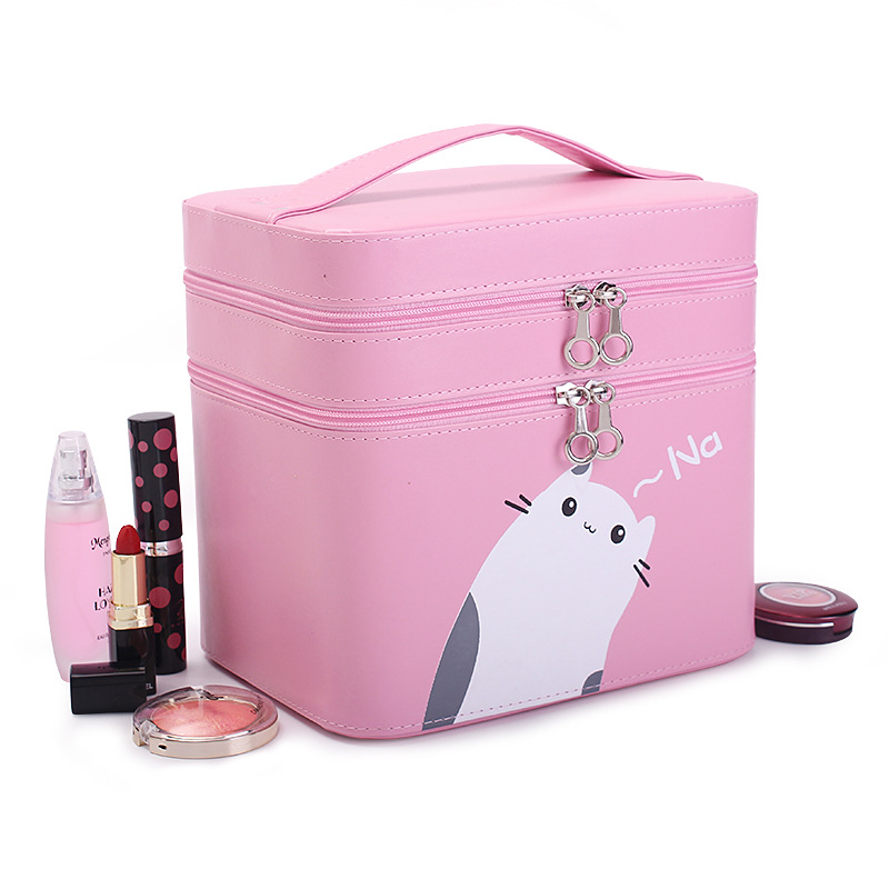 все цены на Portable Makeup Brushes Storage Bag Double Layer Make-up Tools Professional Cosmetics Box Travel Storage Box онлайн