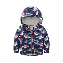 M88 Fashion Cartoon Printing Winter Cotton Chirden Thicken Padded Lining Jacket Hoodies Keep Warm Boys Girls Coat Tops Outwear