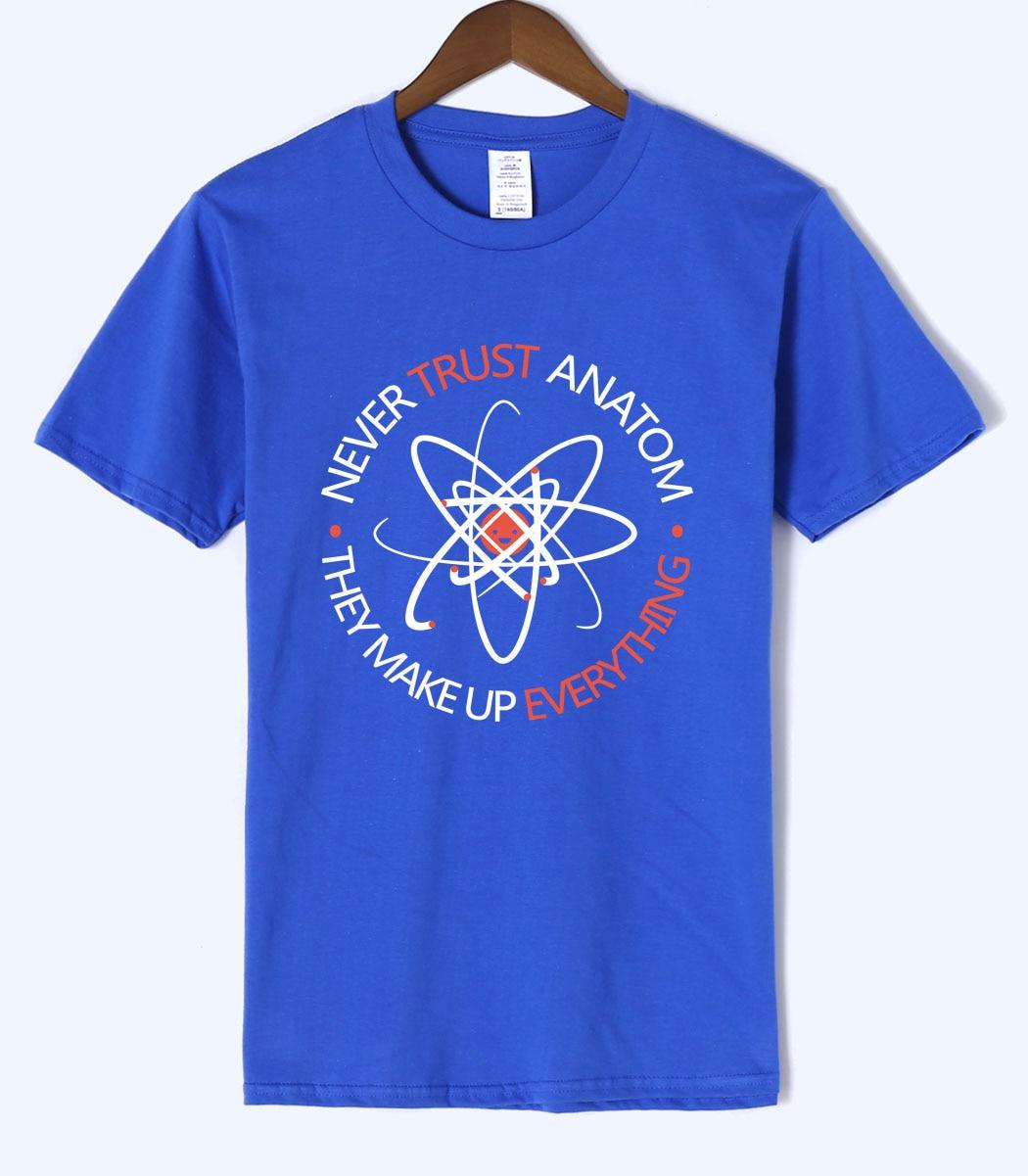 2018 Le Big Bang Theory Adulte plus Jamais Confiance à un Atome D'été 100% Coton de Haute Qualité Science Hommes T shirt 100% coton top t-shirts