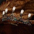 Европейских и Американских Невесты головной убор ювелирные изделия свадьба невеста корона Барокко Украшения Золотая Корона Королевская Свадьба Фотографии
