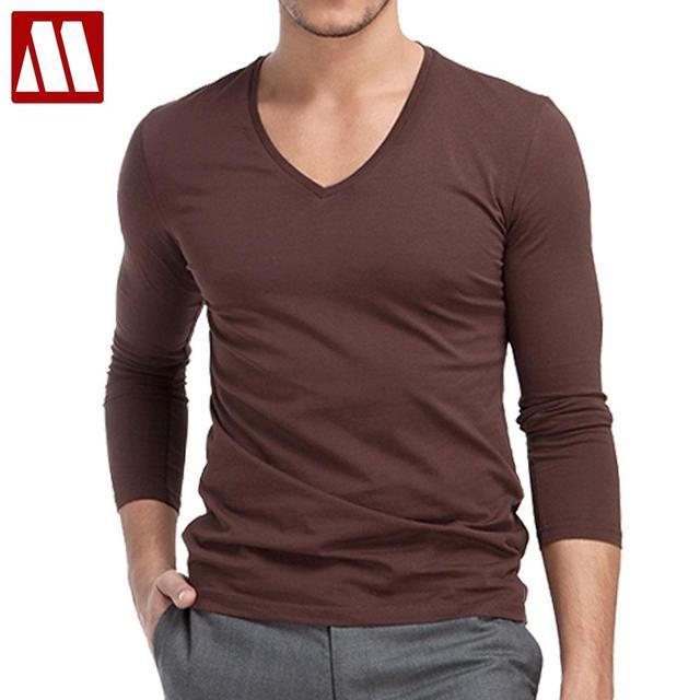 2018 Man's op neck designer Long sleeve t shirts slim fit fashion ...