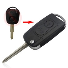 Replacement For Ssangyong 2 BUTTON Flip Remote Key Case SHELL For Actyon SUV Kyron with logo