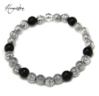 Thomas Beautifully Detailed Silver Plated Matt Black Obsidian Beads Bracelet Rebel At Heart Jewelry Length Adustable