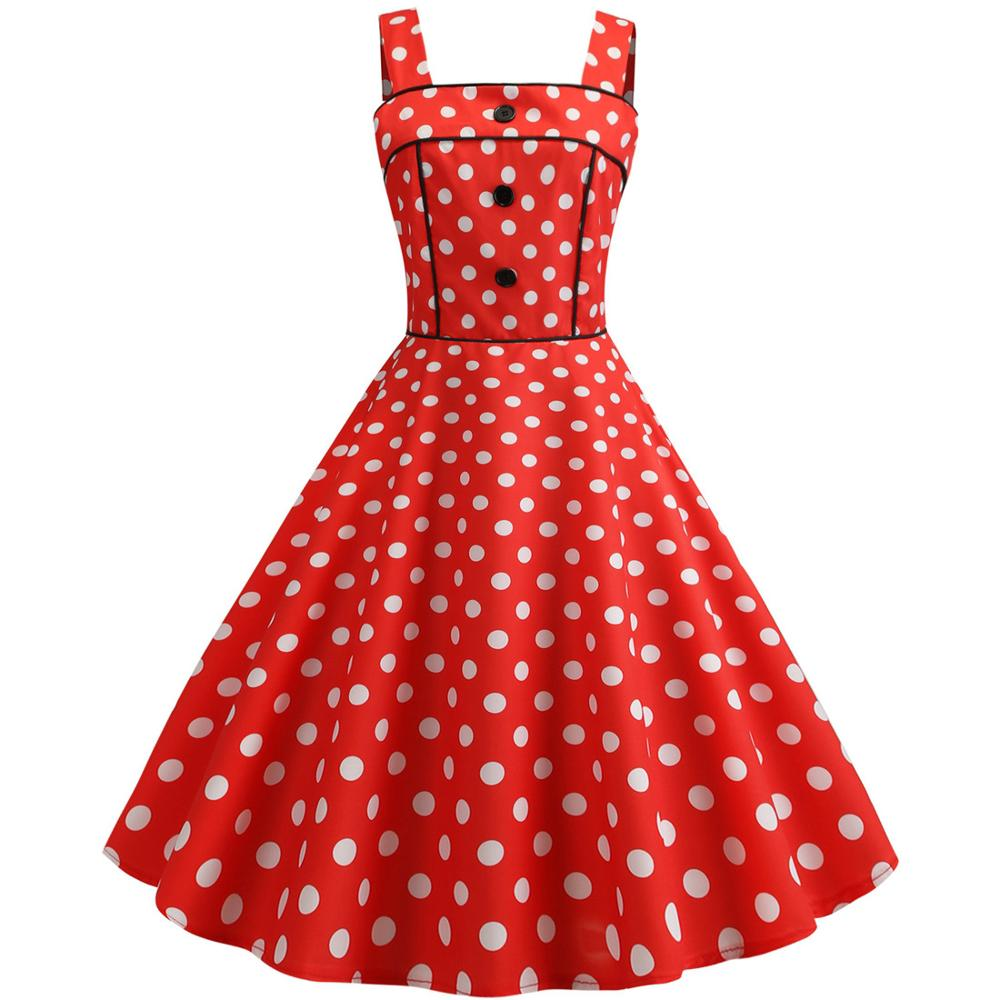 Elegant Women  Polka Dots Wide Strap Dress 2019 Woman Fashion Party Pin up 1950s Retro Swing Vintage Dress Red Purple Blue