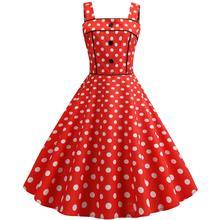Elegant Women  Polka Dots Wide Strap Dress 2019 Woman Fashion Party Pin up 1950s Retro Swing Vintage Dress Red Purple Blue цена 2017