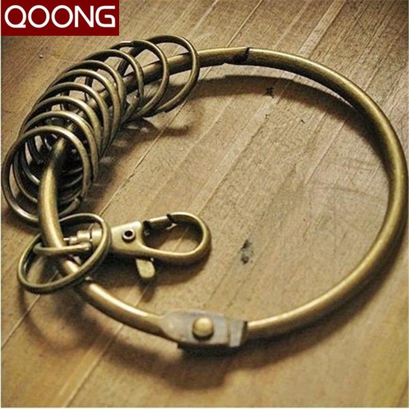 81e73f3593 Qoong moda vintage Bronze color clave anillo titular con 10 Anillos retro  metal llavero para hombres mujeres Super llavero qz5-011