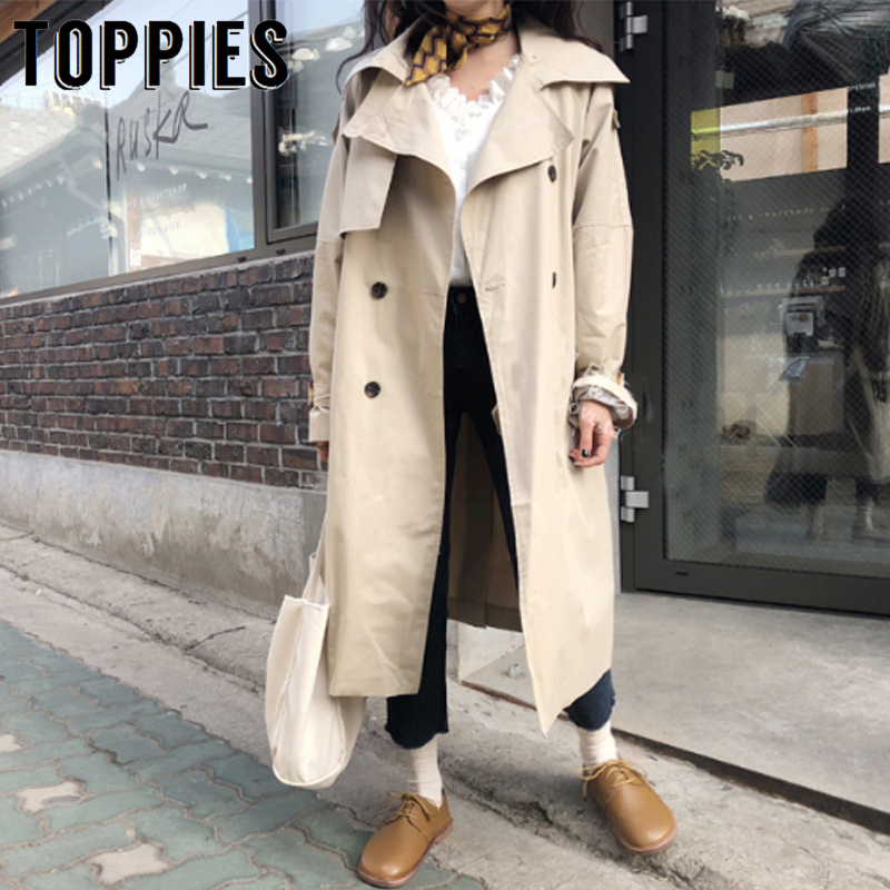 2019 Korean   Trench   Coat Women Loose Oversize Long Coat Fall Female Windbreaker Double Breasted