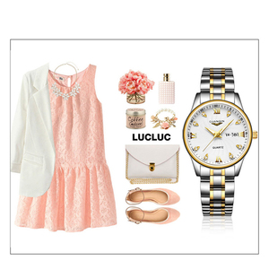 Image 5 - GUANQIN montre Couple en acier inoxydable, montre de luxe Quartz bleu, horloge pour femmes, amoureux