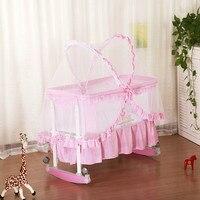 Многофункциональный ребенка Колыбели кровать для новорожденных кровать большое пространство детские Манеж кроватки Роллинг колеса Порта