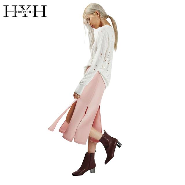 Haoyihui hyh mulheres saias outono sólida rosa divisão fêmea magro sexy midi saias streetwear ocasional básico feminino saia midi