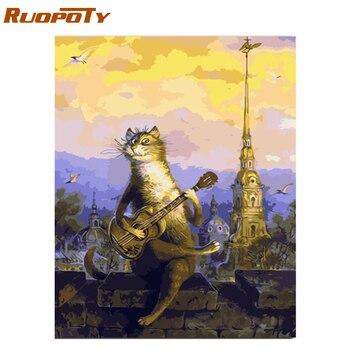 RUOPOTY ramka koty zwierzęta obraz DIY przez numery zestawów kaligrafia malarstwo ścienne obraz do dekoracji wnętrz 40x50 cm sztuki