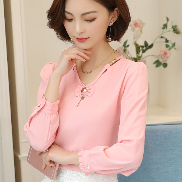 b5e9690f34 2018 nuevas mujeres de Chiffion Blusas verano camisas de manga larga Blusas  blusa de mujer elegante