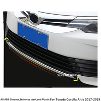 Car cover Bumper engine ABS Chrome trim Front bottom Grid Grill Grille hoods edge 1pcs For Toyota Corolla Altis 2017 2018 2019