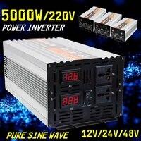 Inverter pure sine wave 2500W 5000W P eak DC 12V/24V/48V to AC 220V Voltage Transformer Converte Double LED digital display