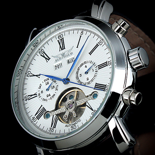 Trust Dress Gentlemen Decor Tourbillon Automatic Mechanical Wrist Watch White Dial Full-calendar lo ultimo en reloj tourbillon