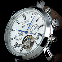 Trust Dress Gentlemen Decor Tourbillon Automatic Mechanical Wrist Watch White Dial Full Calendar