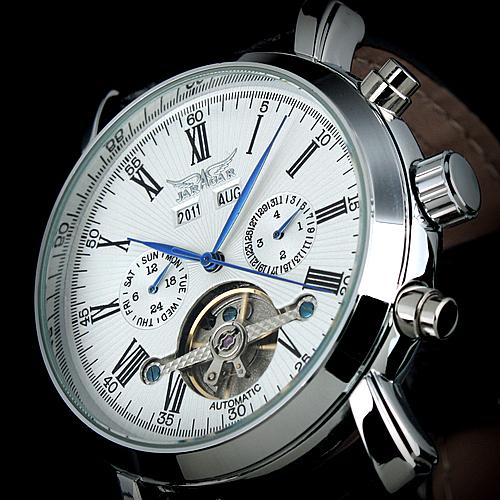 Prix pour Jaragar complet calendrier tourbillon automatique mécanique hommes montres top marque de luxe montre-bracelet erkek kol saati montre homme