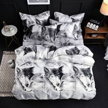3D White Wolf Printing Bedding Set Flower Bed Linen 4pcs/set Duvet Cover Pastoral Sheet AB Side High Quality
