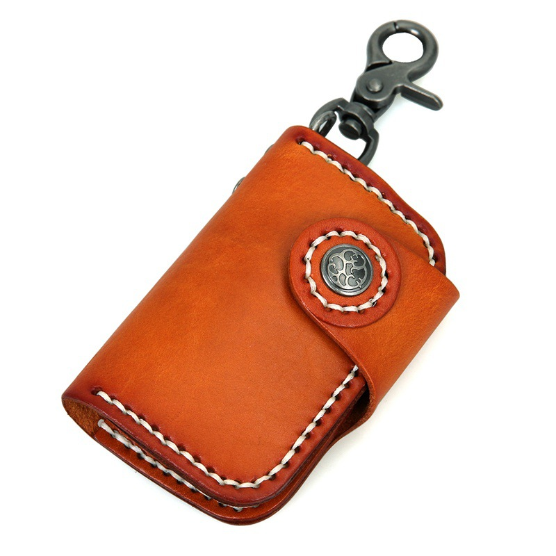 d5cd280593fc High grade vegetable tanned leather Car key wallet Men/Women With Hasp Card  Holder Coin Purses-in Key Wallets from Luggage & Bags