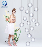 G4 LED Crystal Glass Ball Pendant Lamp Meteor Rain Ceiling Light Meteoric Shower Stair Bar Droplight