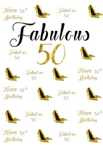 Laeacco Fabulous Happy 50th Birthday High Heels Scene Photography Backgrounds Customized Photographic Backdrops For Photo Studio