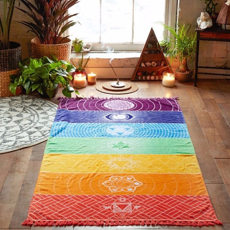 S M Rainbow Carpets Wall Hanging Carpet Mandala Blanket Tapestry Rainbow Stripes Travel Tapetes For Home Floor Decoration Rugs