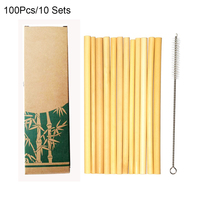 Useful 100pcs/set Drinking Bamboo Straws Reusable Eco Friendly Party Kitchen with Cleaning Brush Party Bar Bamboo Straws