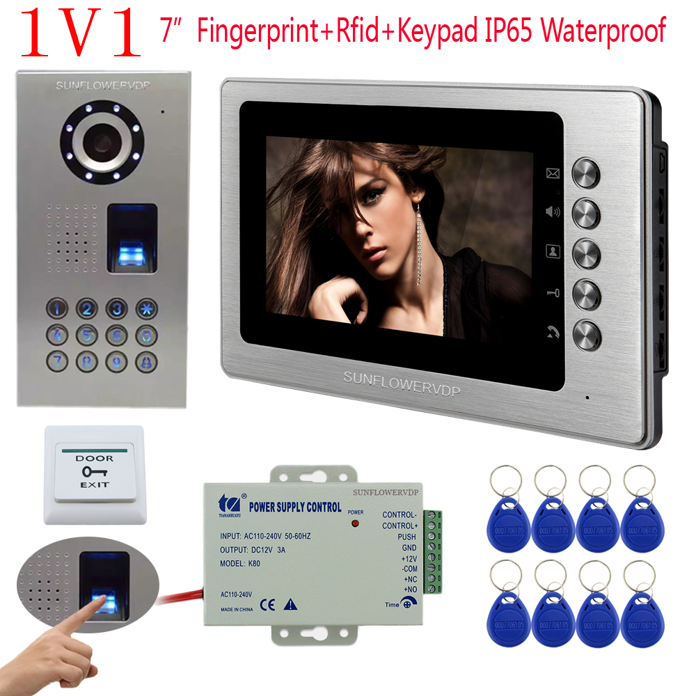 Wired Intercom For Private House Fingerprint Recognition And Password Unlock Intercom With Screen 7