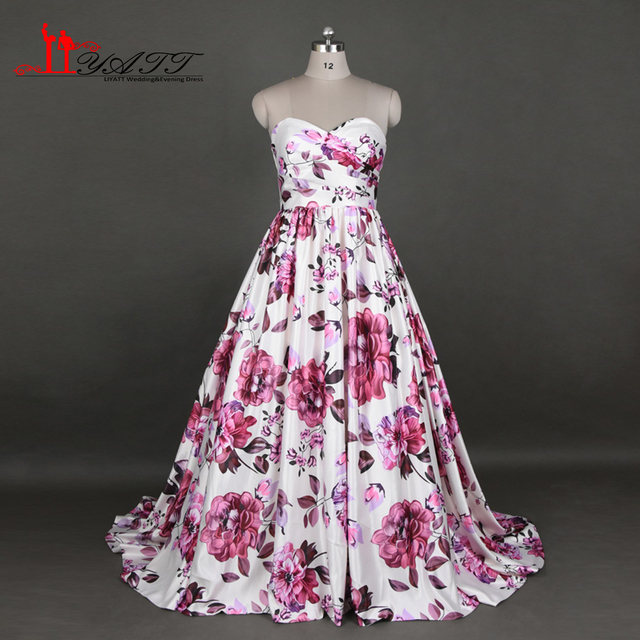 New Printed Evening Prom Dresses 2017 Sweetheart Flowers Western ...