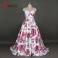 New Printed Evening Prom Dresses 2017 Sweetheart Flowers Western Country Long Cheap Women Gown