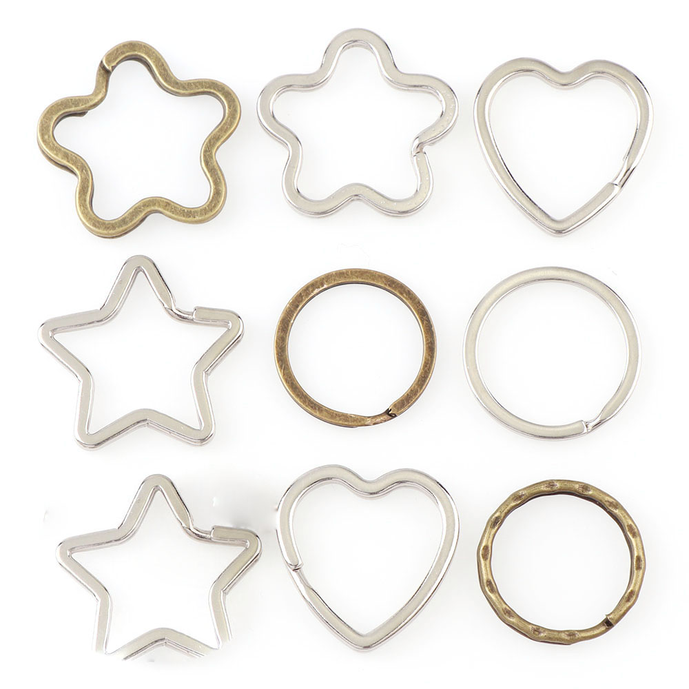 Cheaper Mix 10Pcs/Pack Round /Heart /Flower Keychains Metal Key Chain Ring Split Rings Unisex Keyring  Keyfob Accessories DIY