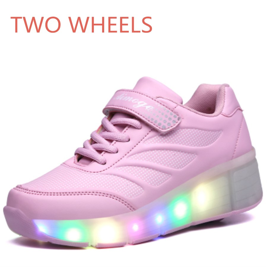 Roller shoes shop - Children S Shoes Single Or Two Wheels Boysgirls Roller Sports Shoes Pulley Automatic Led Flash Flashing Skates Glowing Sneake